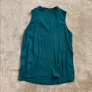 LOFT teal, high ruffled neck, tie-back blouse